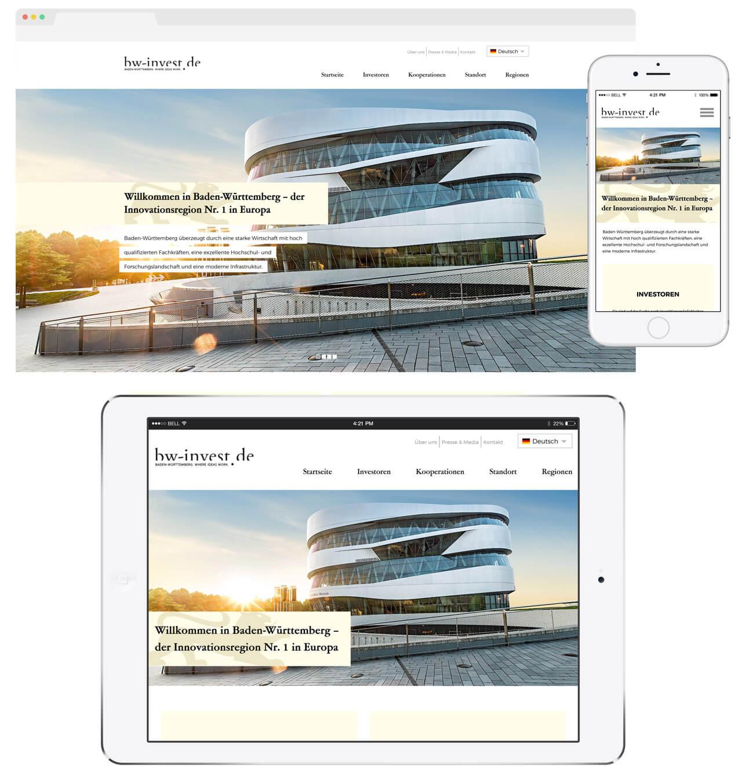 Responsive Webdesign für die Informationsportale von Baden-Württemberg International