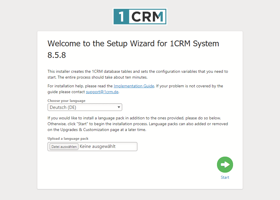 Installationsassistenz mit 1CRM