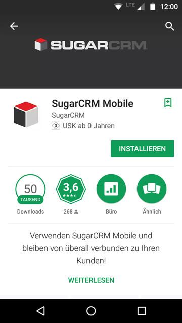 Die Sugar CRM App im Google Playstore