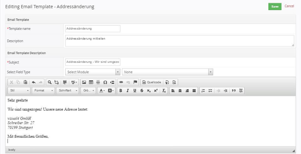Vtiger alle infos zum open source crm visual4 e mail vorlagen in vtiger crm anlegen maxwellsz