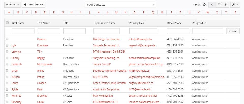 Kontakte suchen und verwalten mit dem CRM vtiger