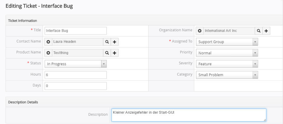 Support in vtiger CRM mit Ticketsystem