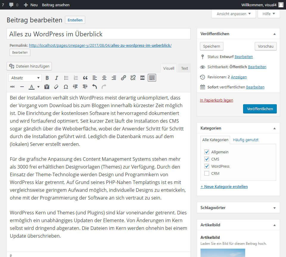 WordPress CMS Beitrag anlegen Medienverwaltung