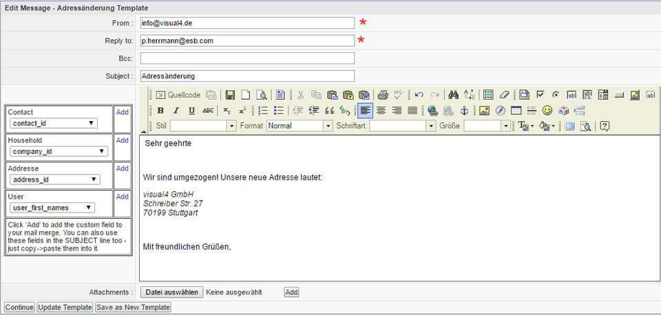 Email mit XRMS CRM versenden