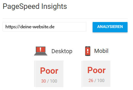Bewertung Google PageSpeed Insights optimieren