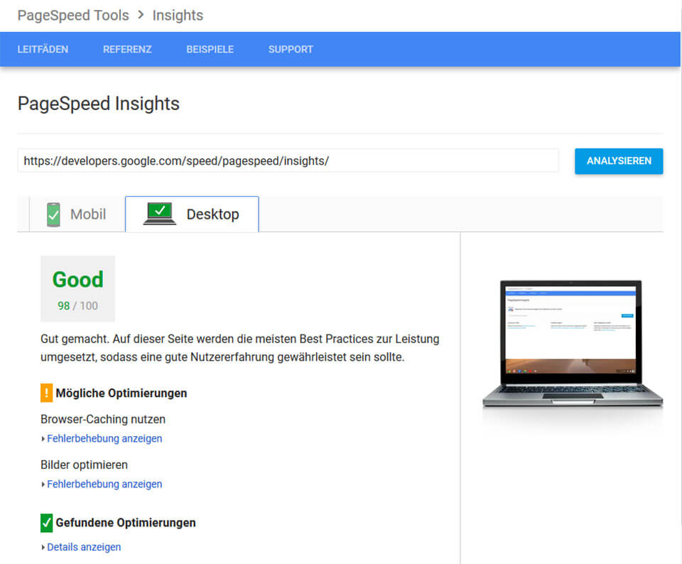 PageSpeed von Google PageSpeed Insights