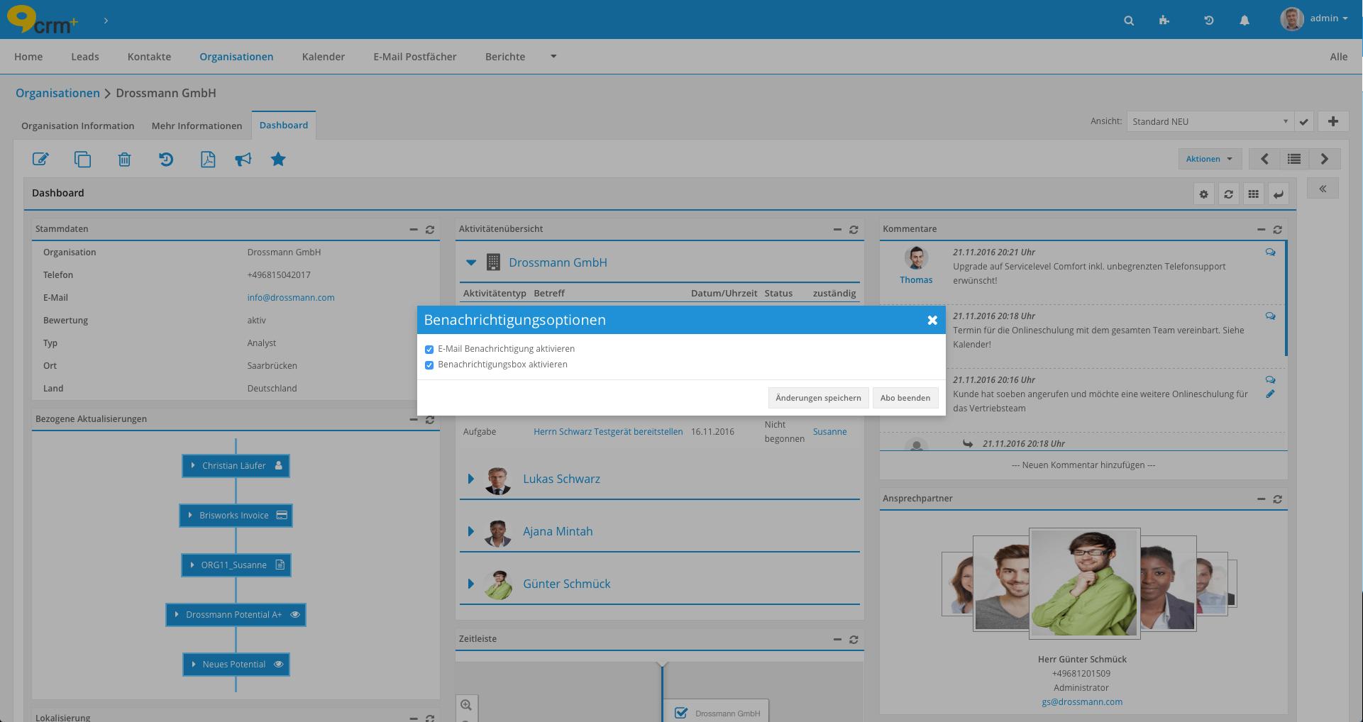 Kommunikationsübersicht in der CRM-Software CRM+