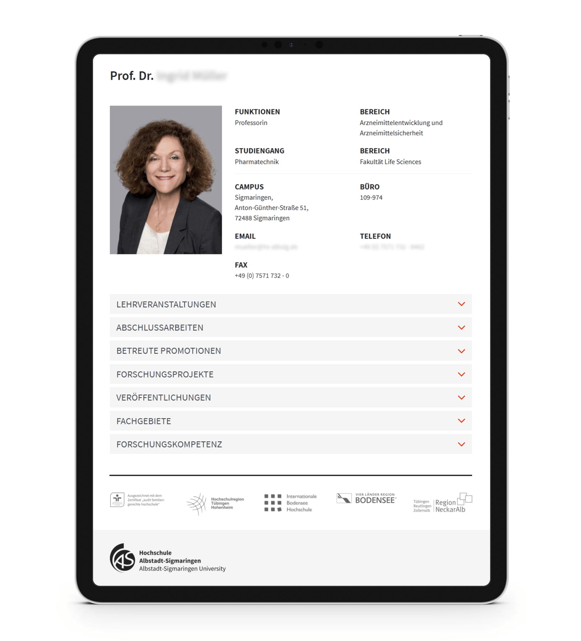 Professoren-Profil auf einer Hochschul-Website
