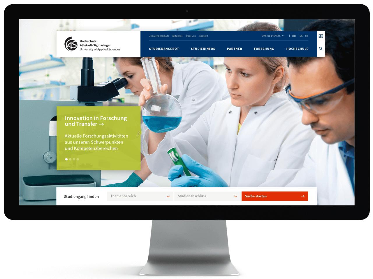 Website-Relaunch Hochschulen: Forschungsaktivitäten