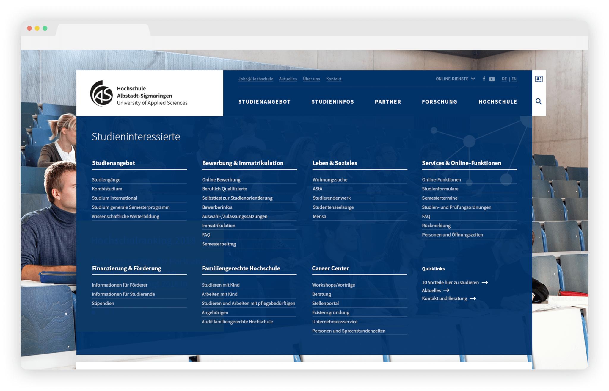 Website-Relaunch Hochschule: Mega-Menü