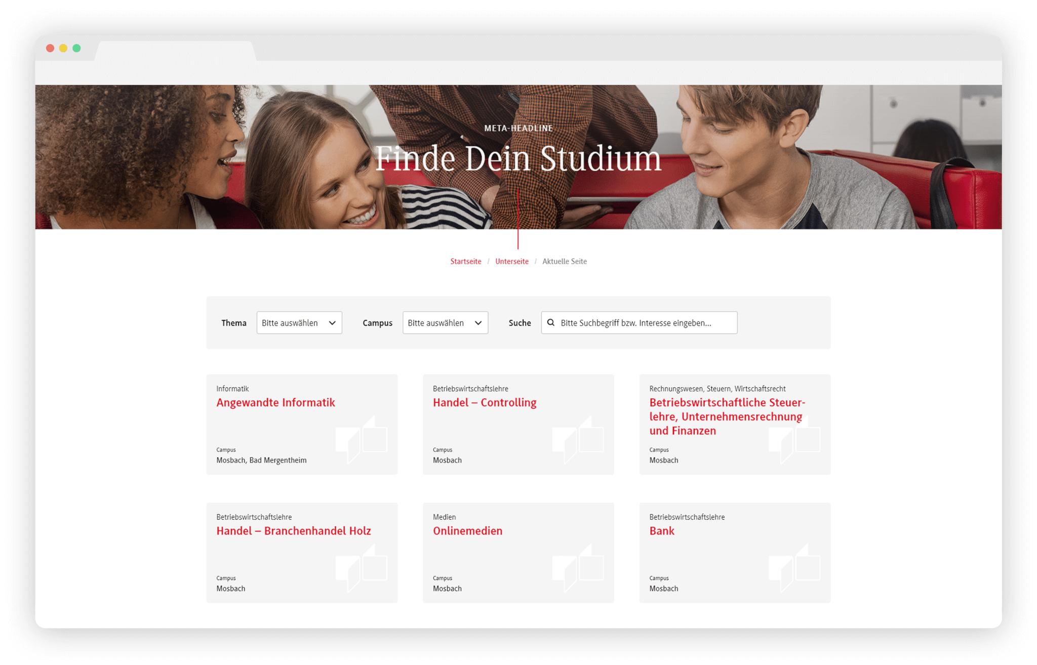Studyfinder Hochschul-Website