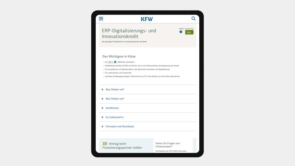 ERP Digitalisierungskredit KMU-Förderung