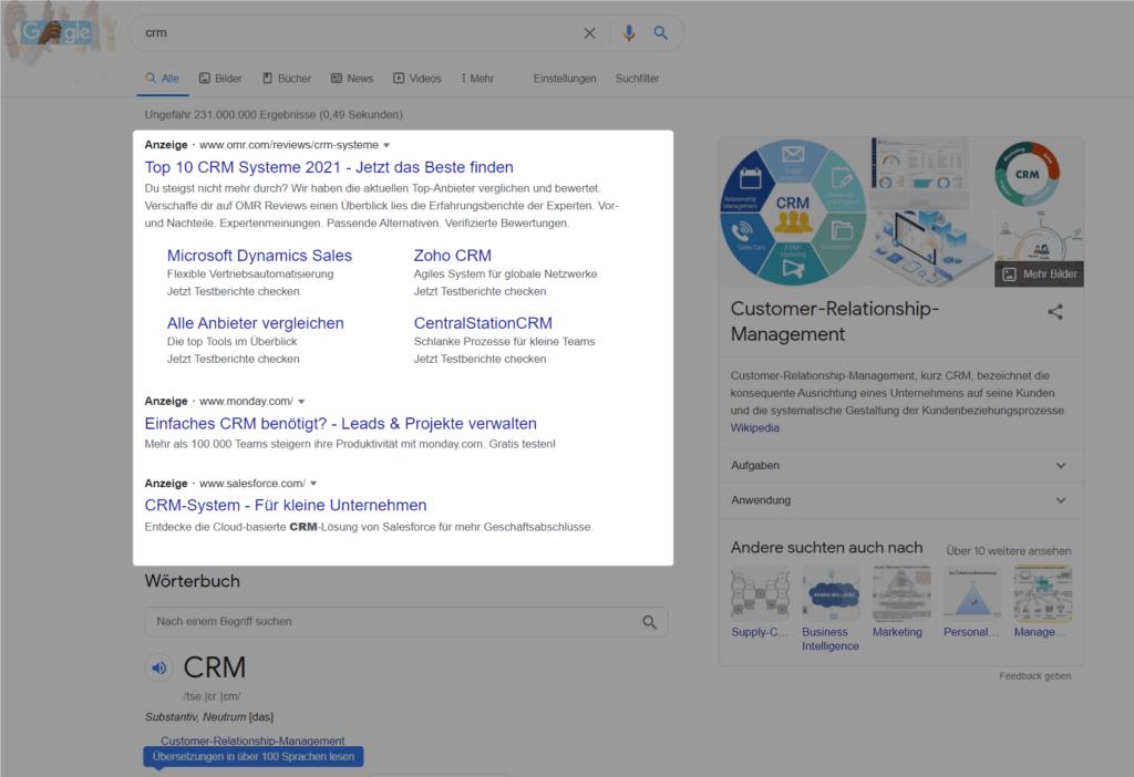 Google Ads Suchnetzwerk Kampagne