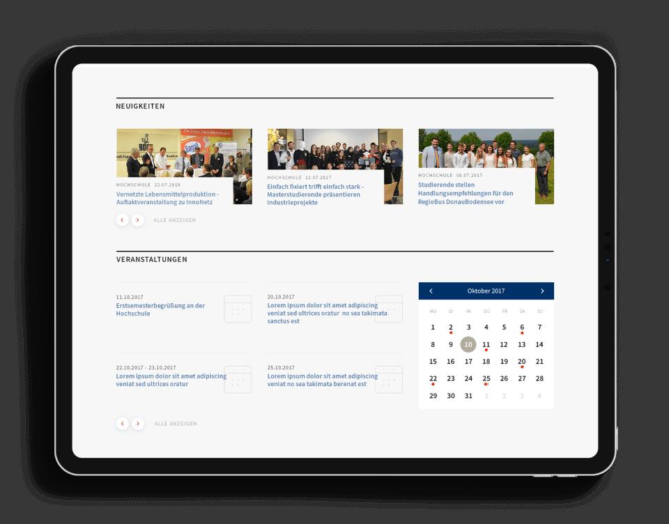 News- und Events-Kalender auf der Hochschulwebsite