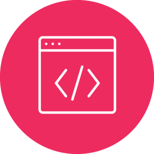 Rundes, rotes Icon mit HTML Symbol